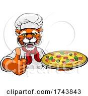 Tiger Pizza Chef Cartoon Restaurant Mascot Sign