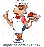 Female Chef Cow Holding Brisket And Gesturing Perfect