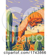 SaladoStyle Cliff Dwelling And Saguaro Cactus In Tonto National Monument In Superstition Mountains Located In Gila County Arizona WPA Poster Art