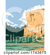 WPA Poster Art Of Pompeys Pillar National Monument A Sandstone Pillar And Rock Formation Located In South Central Montana United States Done In Works Project Administration Style