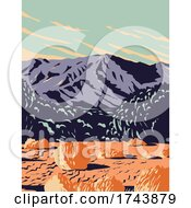 Dramatic Desert And Sand Dunes Of Mojave Trails National Monument Surrounding The Mojave National Preserve In California WPA Poster Art