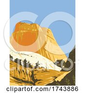The Golden Throne Rock Formation Dome Mountain In Capitol Reef National Park In Wayne County Utah WPA Poster Art