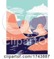 Lake Powell And Reflection Canyon In Glen Canyon National Recreation Area Utah United States Of America WPA Poster Art