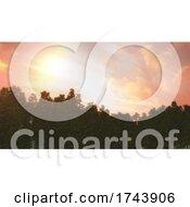Poster, Art Print Of 3d Tree Landscape Against A Sunset Sky