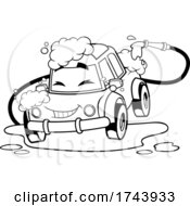 Black And White Happy Automobile In A Car Wash
