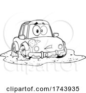 Black And White Dirty Car Stuck In A Mud Puddle