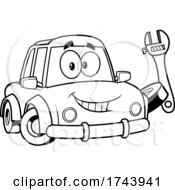 Black And White Car Holding A Wrench