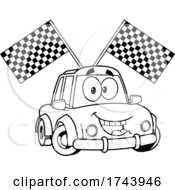 Black And White Happy Car With Racing Flags