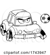 Black And White Tough Car Mascot Playing Soccer Or Football