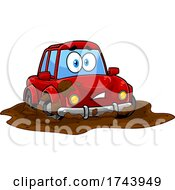 Dirty Car Stuck In A Mud Puddle
