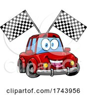 Happy Car With Racing Flags