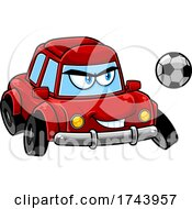 Tough Car Mascot Playing Soccer Or Football