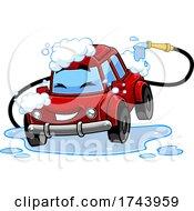 Happy Automobile In A Car Wash