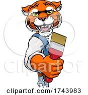 Tiger Painter Decorator Holding Paintbrush