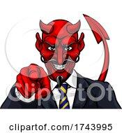 Devil Evil Businessman In Suit Pointing