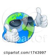 Poster, Art Print Of Earth Globe Shades Sunglasses Cartoon World Mascot