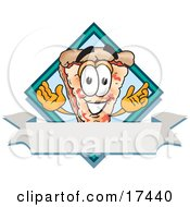 Clipart Picture Of A Slice Of Pizza Mascot Cartoon Character Over A Blank White Business Label Banner