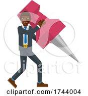 Black Business Man Holding Thumb Tack Pin Mascot