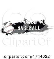 Baseball With Silhouettes And Grunge