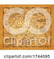 Poster, Art Print Of Antique Styled Map Of Australia And New Zealand