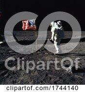 Astronaut Buzz Aldrin By An American Flag On The Moon