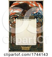American Flag And Bald Eagle On A Blank Scroll For The Roll Of Honor