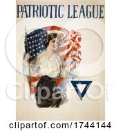 A Young Patriotic Woman With A Blue Triangle And American Flag On A Vintage Patriotic League WWI Poster