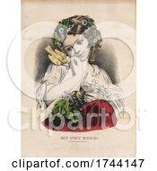 Girl Holding Her Pet Bird And Fruit