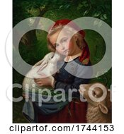 Poster, Art Print Of Girl With A Lamb And Rabbit In A Forest