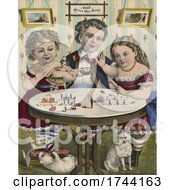 Siblings Playing At A Table With Kittens And A Dog Below by JVPD