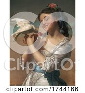 Young Woman Holding And Feeding Cherries To A Pet Dove