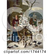 Women Tending To Horses Deer And Birds On A Winter Morning
