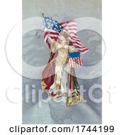 Poster, Art Print Of Columbia Standing On Earth And Holding An American Flag And Trademark Sign