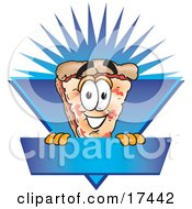 Clipart Picture Of A Slice Of Pizza Mascot Cartoon Character On A Blank Blue Label
