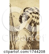 The Goddess Of Liberty Columbia With An American Flag In Sepia