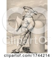 Little Boy Dressed As A Sailor Holding A Toy Sailboat And Leaning Against A Mooring Bollard On A Pier