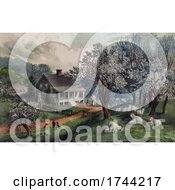 Poster, Art Print Of American Homestead In The Spring With Blossoming Trees And Sheep