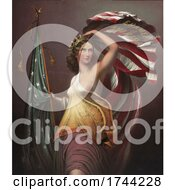Vintage Enamel Of America Advertisement With Columbia And An American Flag
