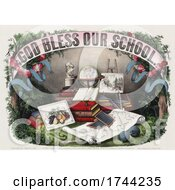 Poster, Art Print Of God Bless Our School Banner Over Books And Supplies