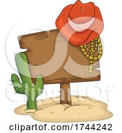 Cowboy Hat And Rope On A Western Wood Sign By A Cactus