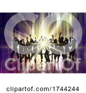 Silhouette Of A Party Crowd On Starburst Background