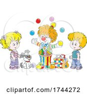 Poster, Art Print Of Juggling Clown Performing For Children