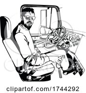 Black And White Truck Driver