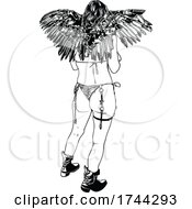05/21/2021 - Black And White Rear View Of A Stripper Wearing Wings