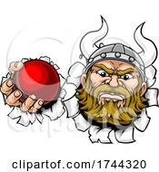 Poster, Art Print Of Viking Cricket Ball Sports Mascot Cartoon