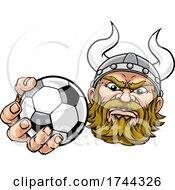 Poster, Art Print Of Viking Soccer Football Ball Sports Mascot Cartoon