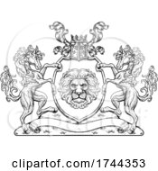 Poster, Art Print Of Coat Of Arms Crest Horses Lion Family Shield Seal