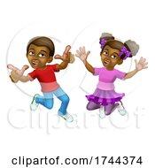 Poster, Art Print Of Jumping Girl And Boy Kids Children Cartoon