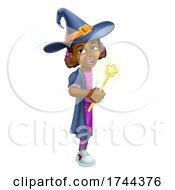 Poster, Art Print Of Black Girl Cartoon Child Halloween Witch Sign