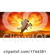 Poster, Art Print Of Cowboy Riding Horse Silhouette Sunset Background